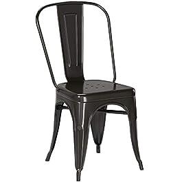 1x Chaise de Salle à Manger Noir Chaise de Cuisine en Fer/métal – empilable Duhome 0668