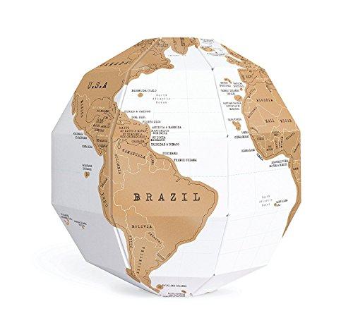 Scratch Globe World Map,DIY New Educational 3D Scratch Globe World Map Assembled for Traveler Children Kid