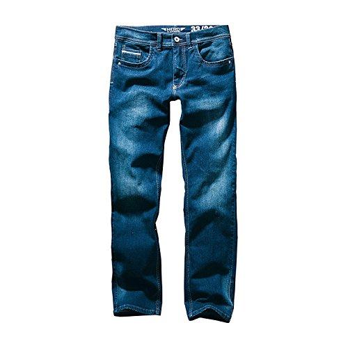 Hero Portland Slim Fit Straight Stretch Jeans Hose Dark Blue Wash - 7456