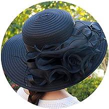 JIAZHOU Sombrero para El Sol Grande Sombrero De ala Ancha Floral Sombrero De Organza Sombreros De