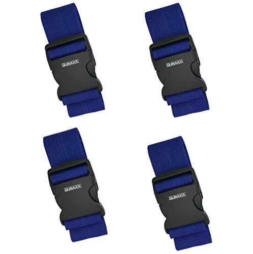 [4 PACK] Koffergurt - Verstellbare Kofferband - Gepäckgurt 5*200 cm - Zum sicheren Versließen der Koffers auf Reisen - Inklusive 3 Jahren Geld-zurück-Garantie (4 pack blue) (Reise-geld-clip)