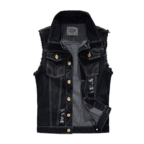 YiJee Herren Ärmellose Zerrissene Jeans Weste Fit Beiläufige Denim Jacke Weste Schwarz XL (Unter Jeans-jacke-weste Für Männer 20)