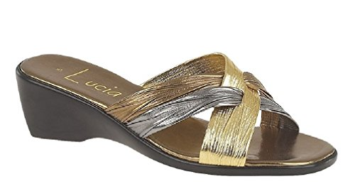 Da donna nero opaco e brevetto Cross over Mule sandali Bronze/Pewter/Gold PU