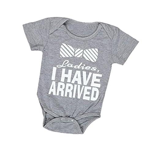 Bekleidung Longra Neugeborenes Baby jungen Mädchen Brief drucken Strampler Overall Outfits Baby Kleidung(0 -24 Monate) (70CM 0-6Monate, (3 Monate Baby-kleidung)