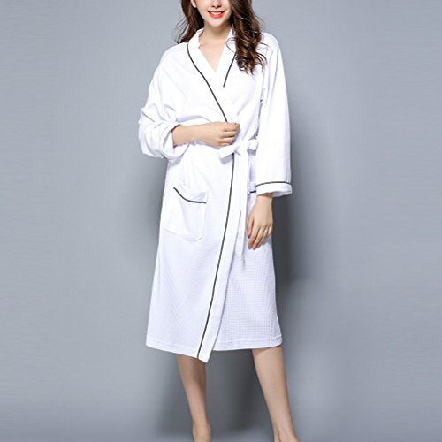 Zhhlaixing Womens Unisex Plus Size Cotton Super Soft Luxury Waffle Robes Vestaglia Housecoat with Belts Nightwear Loungewear White