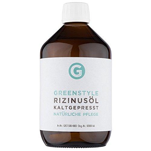 Rizinusöl kaltgepresst (500ml) - 100% reines Öl zur Pflege von Haut und Haaren - natürlich in der Glasflasche