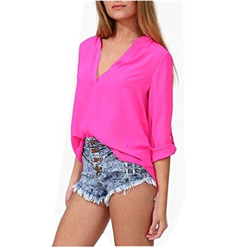 WOCACHI Tops Art und Weise Frauen-Freizeit-lose Chiffon- lange Hülsen-Blusen-Hemd (XL, Hot Pink)