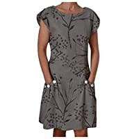Ansenesna Wedding Guest Fashion Women O-Neck Short Sleeve Botton Floral Printed Pocket Casual Dress Gray 16