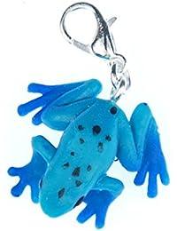 Regalo de rana de goma Charm zipper pull colgante miniblings anfibio azul