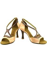 T.T-Q Zapatillas de Baile de la Profesión de Las Mujeres Sandalias Latinas Azules Salsa Jazz Tango Swing Practice...
