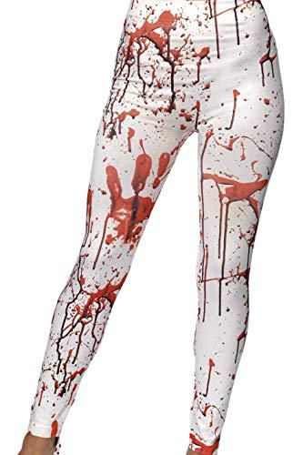 Smiffys Damen Horror Leggins mit Blutflecken, One Size, Weiß und Rot, (Rote Und Weiße Halloween Kostüm Ideen)