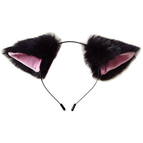 Und Pink Katze Kostüm Schwarz - CuteGirl Katze Fox Ohren langem Fell Haar Haarband Anime Cosplay Party Kostüm, schwarz und pink