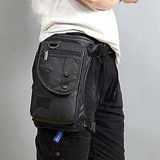 Ainstsk Waist Pack,Men Waterproof Oxford Cloth Nylon Messenger Bags,Multi-Purpose Drop Leg Bag Motorcycle Rider Waist Bag Hip Bum Fanny Pack Messenger Shoulder Bag with Zipper(Black)