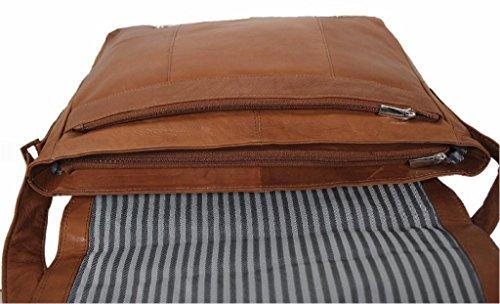 Leatherworld Unisex Nappa Leder Umhängetasche DIN A4 Schwarz LT016 Cognac