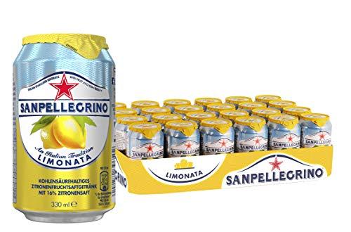 San Pellegrino Limonata, Zitronen Limonade, Hoher Fruchtanteil, 16{fdf812a4c9658e5f6768a03278a695df9097cb693fcbcf9890e46033491ce491} frisch gepresste Zitronen, Saure Geschmacksnote, Ohne künstliche Farbstoffe, 24er Pack, EINWEG (24 x 0,33l)