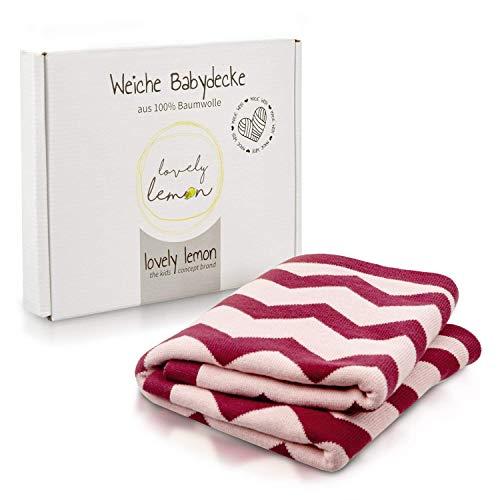 lovely lemon Babydecke aus Baumwolle für Mädchen in Rosa - Bordeaux | Weich und flauschig | Weich und Flauschig zum Pucken | Hochwertiges Jacquardmuster | 75 x 100 cm