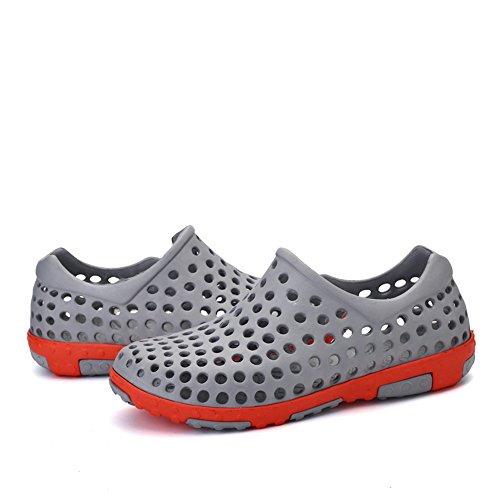 Santiro Le Glissement De l'femmes Hommes Sur Sneaker Unisexe Trou Chaussures Haute-eau. Gris