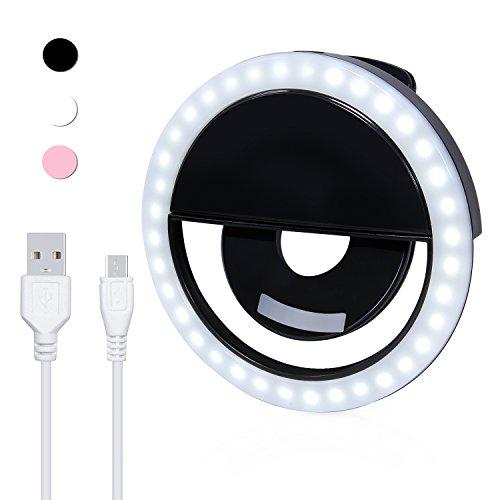 Prochive Selfie-Licht für das Handy, rundes LED-Ringlicht für zusätzliche Beleuchtung bei Nacht, für bessere Selfies mit dem Smartphone, wiederaufladbar, 3Helligkeitsstufen