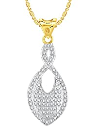 VK Jewels Fish Shape Gold And Rhodium Plated Alloy CZ American Diamond Pendant With Chain For Women [VKP2705G]