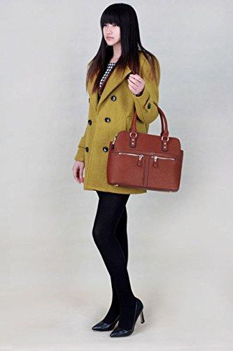 Frauen Handtaschen Damen-Schultertasche Artleder 3 Fach Trage neue Promi-Stil groß (A - Schwarz/Nude) Braun