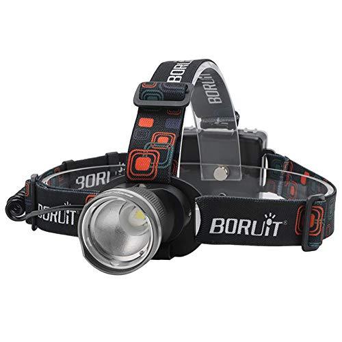 Ebestus Lampade da Testa LED Torcia Frontale, Lampada Frontale, All'aperto Proiettore Faro Testa lampada luce Elettrica Torcia - Grigio
