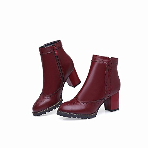Mee Shoes Damen chunky heels Plateau Borte Ankle Boots Rot