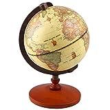 "Vintage World Globe Antique Decorative Desktop Globe Rotating Earth Geography Globe Wooden Base Educational Globe Wedding GIFT With Magnifying Glass (9.2"" Diameter)"