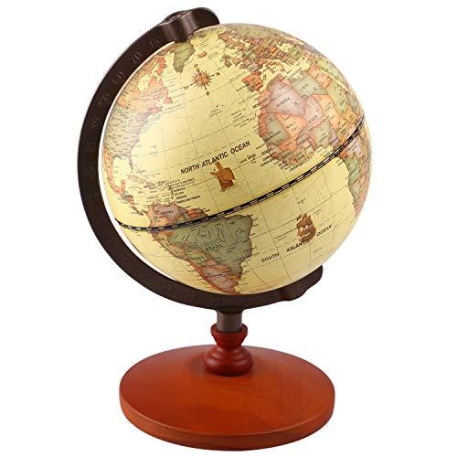 TTKTK - 12,7 cm Durchmesser Vintage World - Antike, dekorativ, Desktop, Rotierende Erde, Geographie, Holzsockel, Lernkugel, Hochzeit, Geschenk, mit Lupe