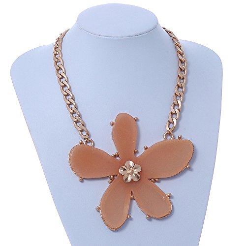 Colore ciondolo a forma di fiore, grande, In resina, con catena a maglie ovali grandi, placcato In oro, 44 cm, lunghezza estensione 5 cm