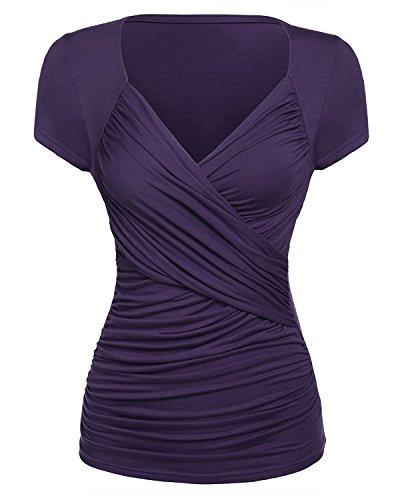 GAMISS Damen Causal T Shirts Sexy V Ausschnitt Blusen Rüschen Wickel Kurzarm Top in Mehreren Farben-Dunkelviolett-XX-Large (Kurzarm-wickel-shirt)