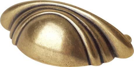 Poignée de porte ou tiroir de meuble en zamak bronze entraxe 64 mm, COQUILLE