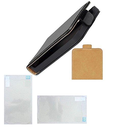 Flip Case slim Handy Klapp Tasche mit 2 Folien für LG Optimus L3 E400 schwarz