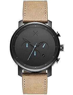 MVMT Herren Watch Uhr Chronograph Black Gun Metal/ Sandstone Leder Armband MCCGML