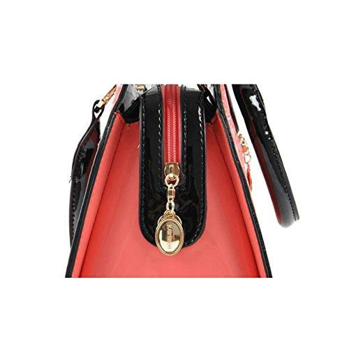 Emotionlin Totes Pelle Vintage Modo Delle Signore Borsa Quadrato Delle Donne(Rose) Black