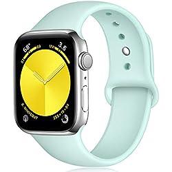 Zekapu Sport Correa para Apple Watch Correa 38mm 42mm 40mm 44mm, Pulsera de Repuesto de Silicona Suave Correa para Apple Watch Series 5/4/3/2/1, 42mm/44mm M/L Mar Azul