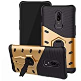 Dmg Back Cover, Shockproof Rugged Hybrid Armor Kickstand Case For Oneplus 6 (Gold)