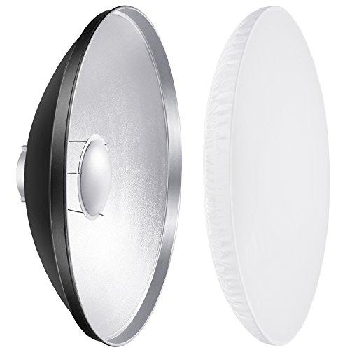 Neewer Beauty Dish Lichtformer 55 cm und Diffusor mit Universalanschluss für Studio Bowens Strobe Blitzgeräte Flash, wie Neewer Vision 5 Vision 4 VC-400HS VC-600HS VL-300 PLUS