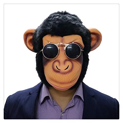 Z-one 1 Deluxe Lustige Gorilla Neuheit süßer gruseliger Latex Gummi Schimpanse Affe Orangutan Kopfmaske Halloween Party Kostüm Dekorationen mit Cool Sonnenbrille für Erwachsene Größe (Gorilla Kostüm Hunde)