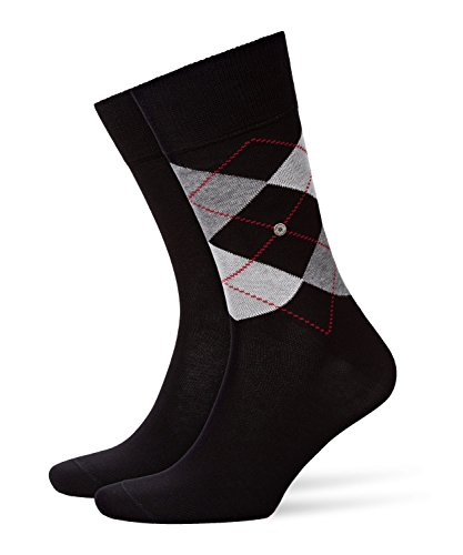 Burlington Herren Everyday Argyle Mix Baumwolle 2 Paar Casual Socken, Blickdicht, schwarz (black 3000), 40-46 (erPack 2