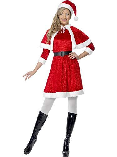 Halloweenia - Damen Frauen Kostüm Kurzes Nikolaus Weihnachtsfrau Kleid mit Plüsch Fell Umhang und Hut Mütze, Miss Santa Claus, perfekt für Weihnachten Karneval und Fasching, S, ()