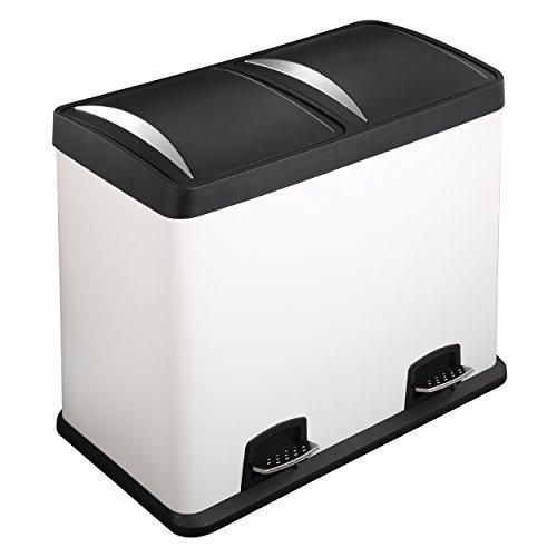 Lyndan - Bidón de basura de 48 litros, grande, de acero blanco con tapa y doble, cocina, garaje, cobertizo y uso doméstico Reciclaje de residuos