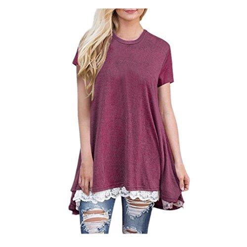 Sweats à capuche femme❤️zahuihuiM Chemise à manches courtes en dentelle occasionnels dames femmes chemisier blouse Du vin