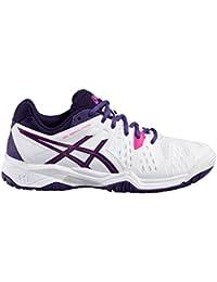 Asics - Zapatillas de tenis de Piel para niña blanco Bianco/Viola/Rosa
