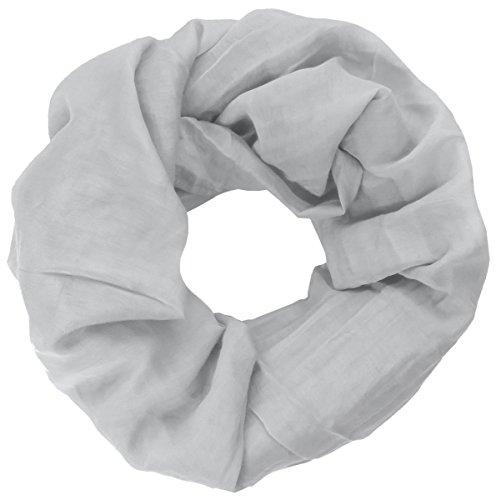Lovely Lauri Basic Loop Tuch Schal einfabig unifarben Damenschal Made in Italy Seide Baumwolle Hellgrau