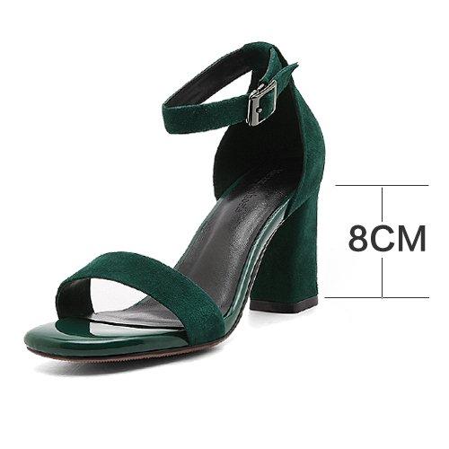 sommer vereiste lederschuhe mit ein paar schuhe, schuhe, sandalen, frauen den kopf und die schuhe schwärzlich grün