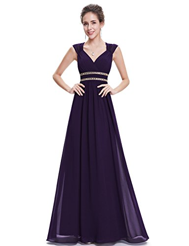 Ever Pretty Damen Elegant V-Ausschnitt Ärmellos Lang Abendkleid 46 Größe Violett EP08697DP14