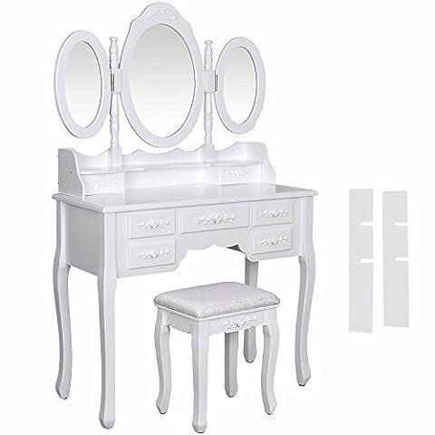 Ospi vintage Coiffeuse/coiffeuse Définit avec 3ovale réglable Miroir ovale, 7tiroirs et 1Tabouret de coussin–Blanc Couleur (7Drawers-)