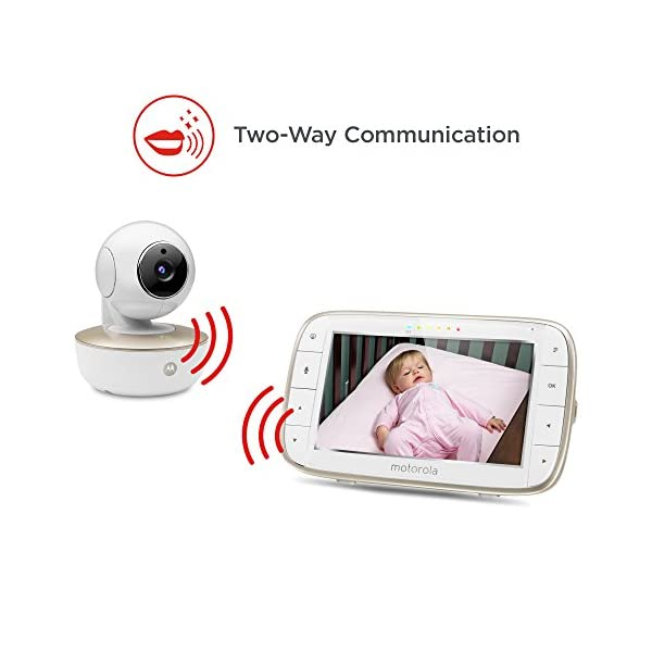 Motorola MBP855 Connect 5-Inch Colour Screen Video Baby Monitor Motorola Portable baby monitor with added Wi-Fi connectivity. Up to 1000 feet range Can connect with Hubble App to your smartphone or tablet.  It easily attaches to shelves, brackets, and more. For safety camera should be mounted at least 3 feet outside of crib Large 5 inch colour display with included infrared night vision 7