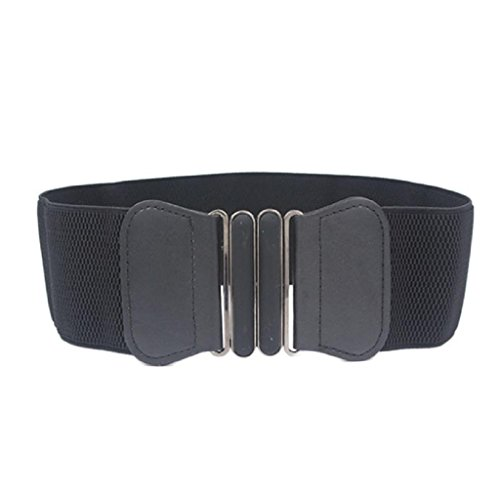 Rcool Mode Dame Bowknot Stretch elastischen breiten Gürtel elastisch Kleid Schmuck (Jahre Mann 80er Mode)