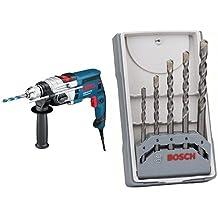 Bosch GSB 19-2 RE - Taladro eléctrico (850 W, AC, 2700 g) + Juego de 5 brocas para hormigón CYL-3 - 4; 5; 6; 6; 8 mm (pack de 5)